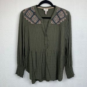 Knox Rose Embroidered Top XL Long Sleeve A364